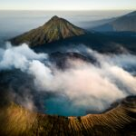 Volcano with clouds